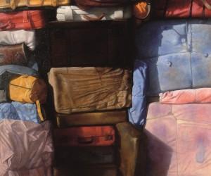 En baja TORAL Composición con maleta roja, 2003.
